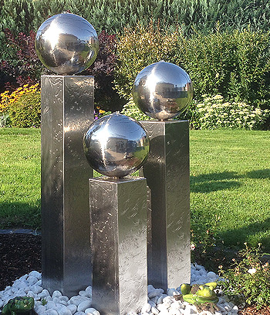 Edelstahl Gartenbrunnen Frankfurt 3er SET 100S20 (Edelstahlbrunnen)/1