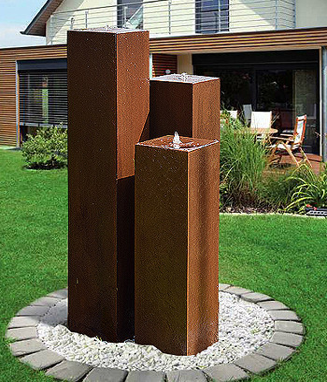 Cortenstahl Gartenbrunnen Chelsea 3er SET 100S20-1